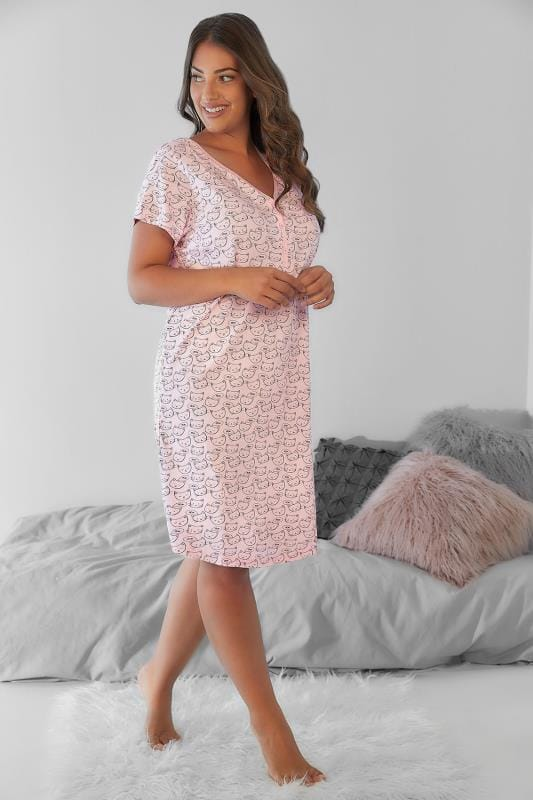 Plus Size Nightdresses & Chemises Pink Cat Print Nightdress With Lace Trim V-Neck