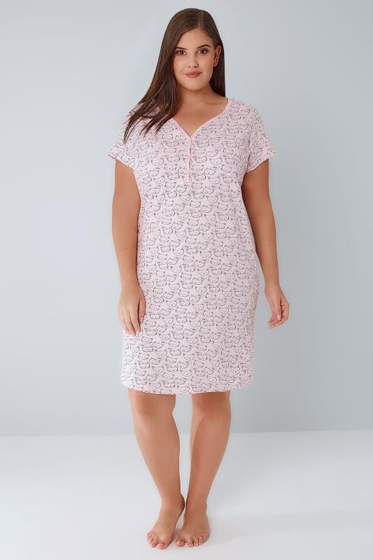 Pink Cat Print Nightdress With Lace Trim V-Neck