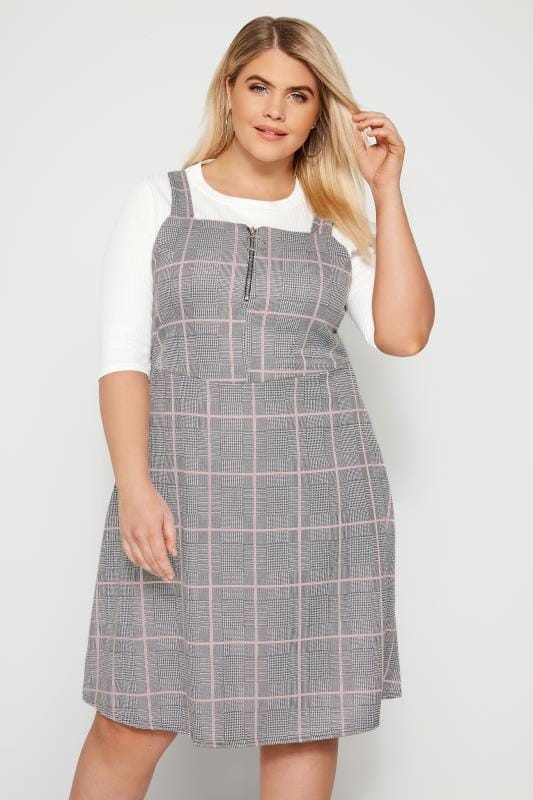 Plus Size Pinafore Dresses Pink Check Zip Pinafore Dress