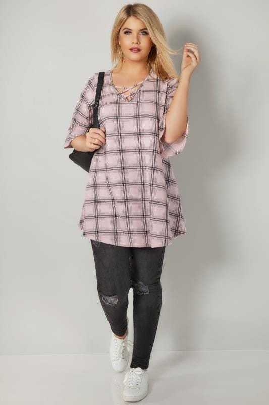 Pink Checked Longline Top With Flute Sleeves
