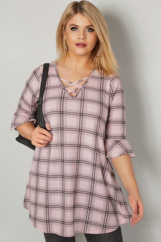 Plus Size Day Tops Pink Checked Longline Top With Flute Sleeves