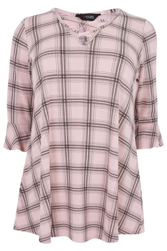 Day Tops Pink Checked Longline Top With Flute Sleeves 132695