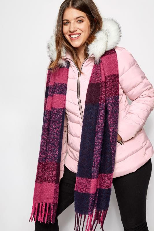 Plus Size Scarves Pink Checked Scarf