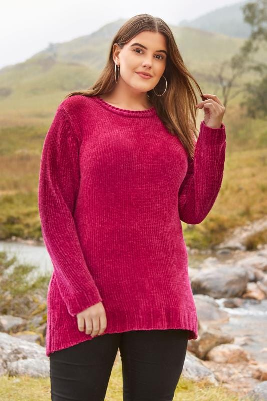 Plus Size Jumpers Pink Chenille Jumper