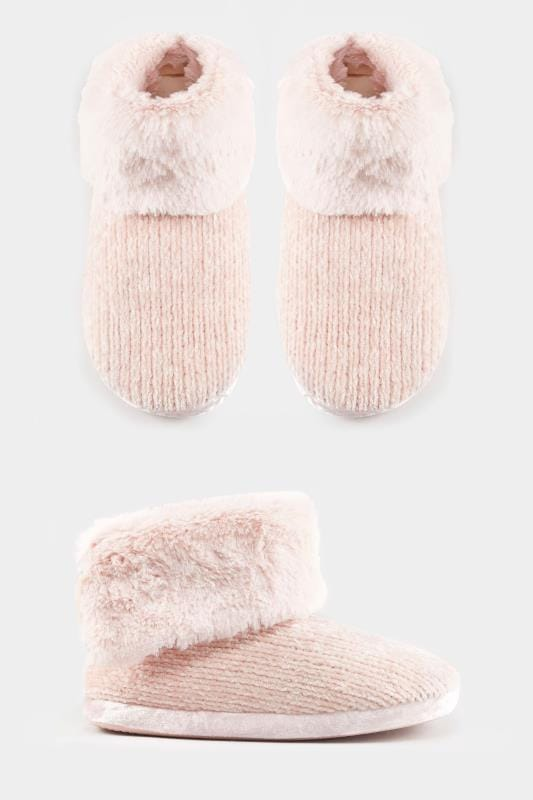 Chaussons Maille Chenille - Rose