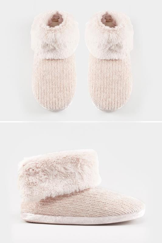 Wide Fit Slippers Pink Chenille Knit Slipper Boot