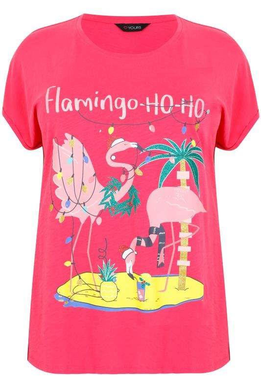 183352de92583 Pink Christmas Flamingo Ho-Ho Glitter Print T-Shirt With Curved Hem ...