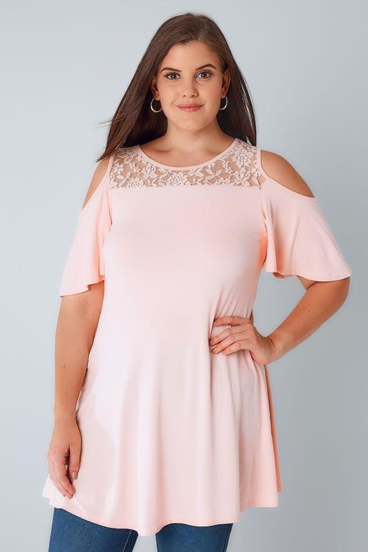 Pink Cold Shoulder Longline Jersey Top With Lace Panel