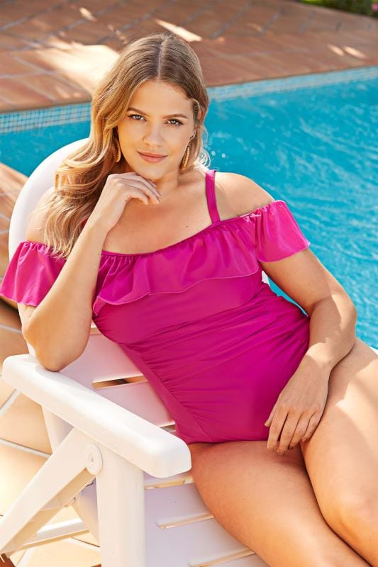 Plus Size Swimsuits Pink Cold Shoulder Swimsuit With Frill Detail
