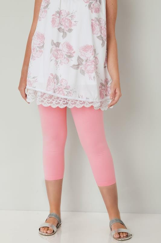 Pink Cotton Essential Cropped Leggings