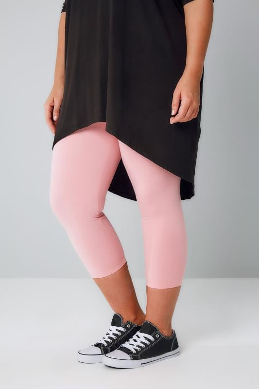 Pink Cotton Elastane Cropped Leggings, Plus size 16 to 36