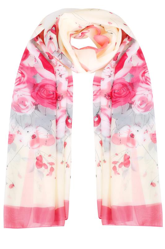Pink & Cream Floral Print Woven Sheer Scarf