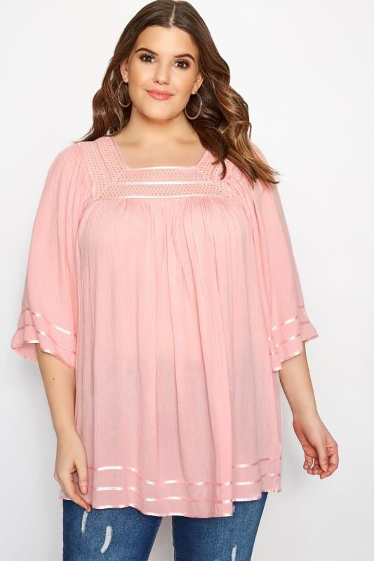 Plus Size Day Tops Pink Crinkle Crochet Top