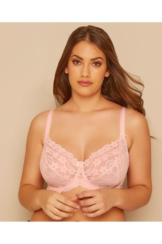 Plus Size Underwire Bras Pink Daisy Lace Underwired Non-Padded Bra