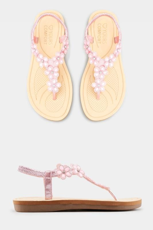 df0ec192aeb Wide Fitting Pink Diamante Flower Sandals