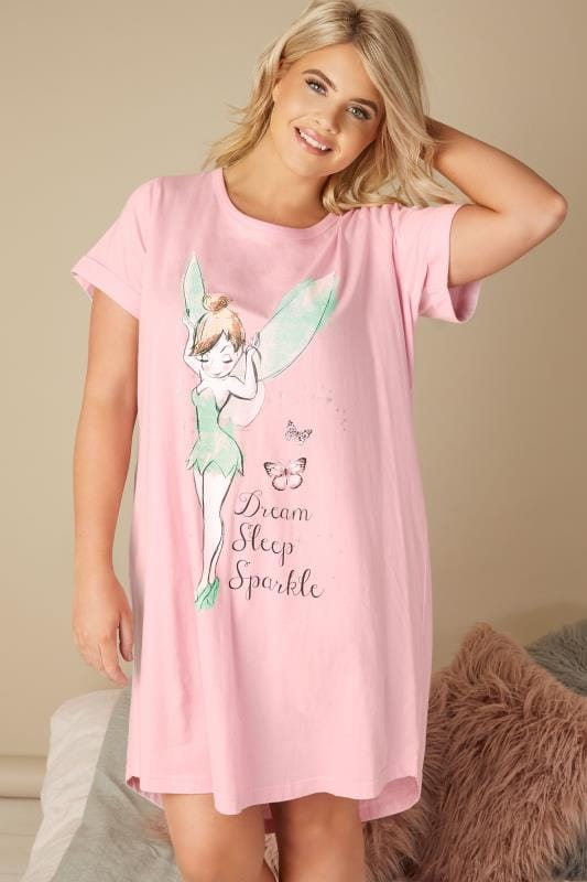 Plus Size Nightdresses & Chemises Pink Disney Tinkerbell 'Dream Sleep Sparkle' Print Nightdress