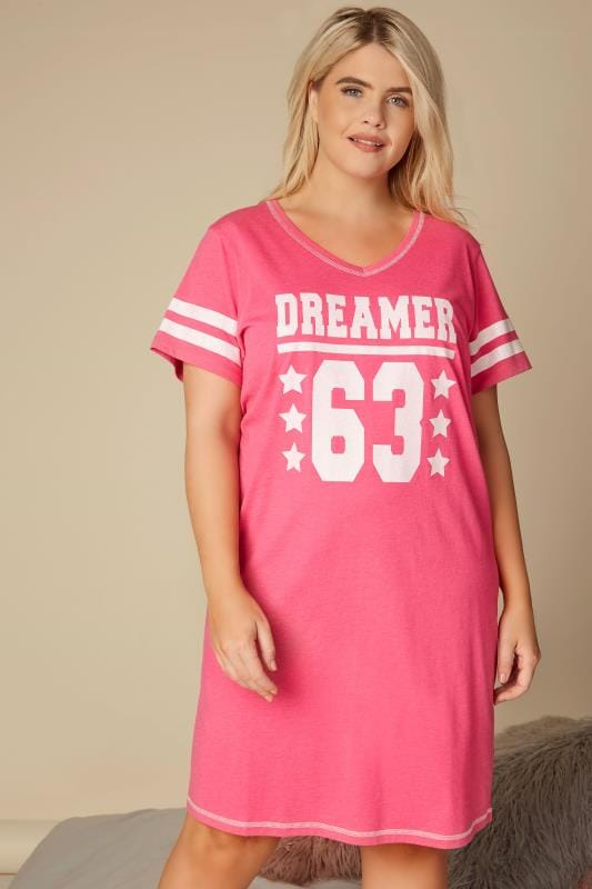 Plus Size Nightshirts Pink 'Dreamer' Slogan Print Nightdress