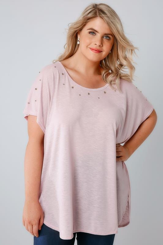 Pink Curved Hem Top With Studded Neckline & Zip Back