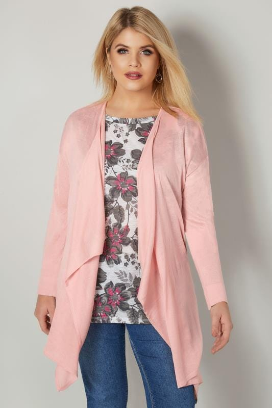 Plus Size Cardigans Pink Fine Knit Waterfall Cardigan
