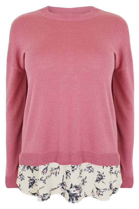 Knitted Tops & Jumpers Pull en Mailles Fines Rose avec Doublure à Motifs Floral 124184