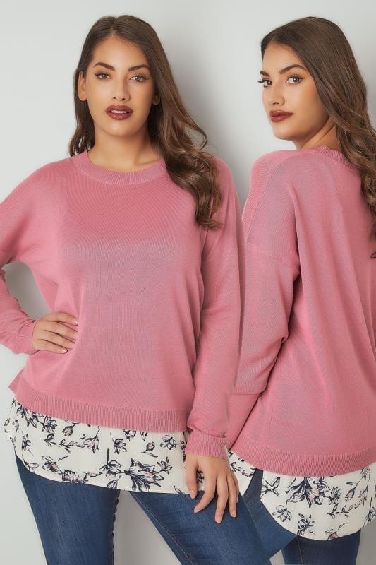 Plus Size Knitted Tops & Jumpers Pink Fine Knitted Jumper With Mock Floral Print Shirt Hem