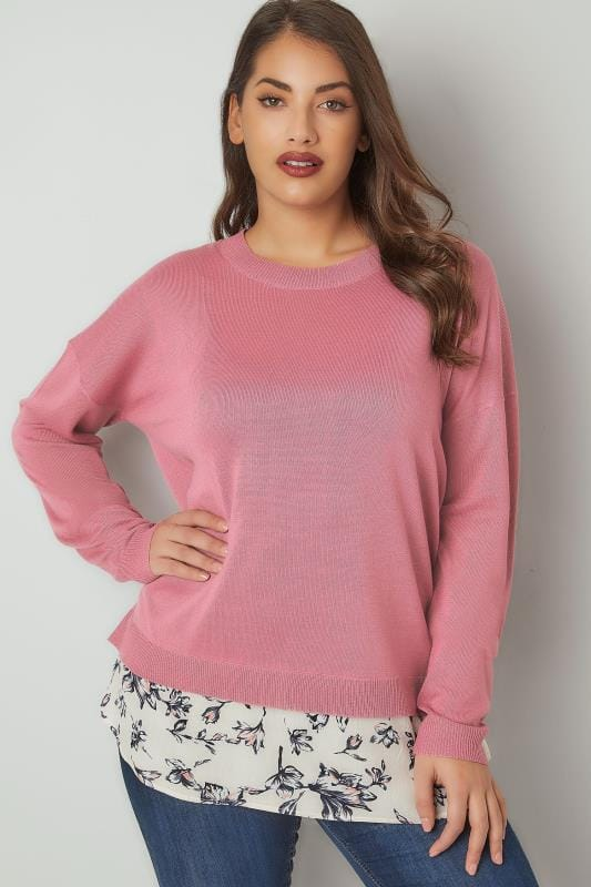 Pink Fine Knitted Jumper With Mock Floral Hem