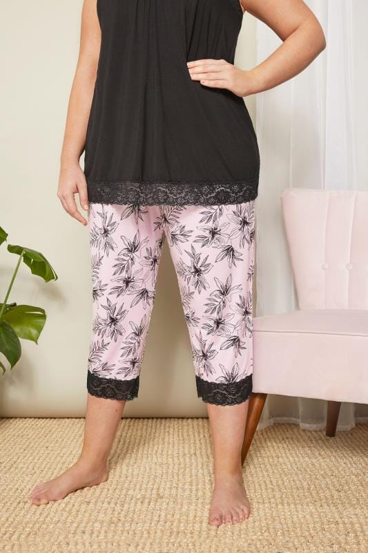 Plus Size Loungewear Pink Floral Cropped Loungewear Bottoms