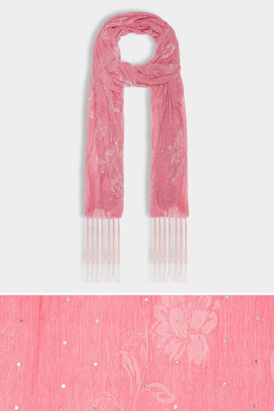 Pink Floral Diamante Scarf With Tassels