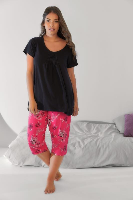 Pink Floral Print Cropped Pyjama Bottoms