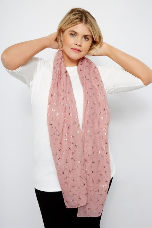 Plus Size Scarves Pink Foil Flamingo Scarf