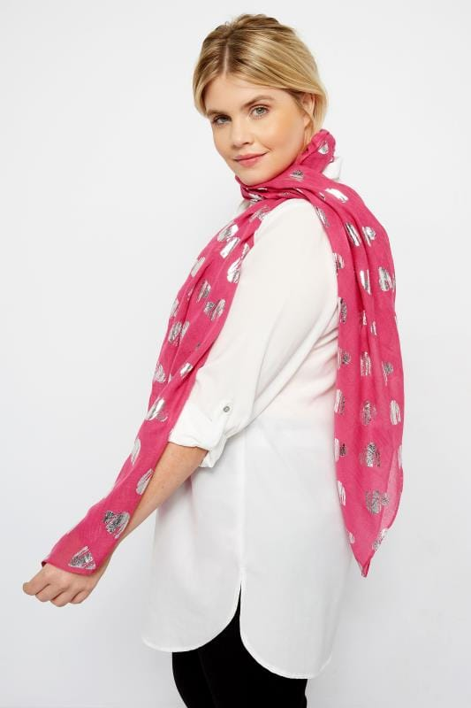 Plus Size Scarves Pink Foil Heart Scarf