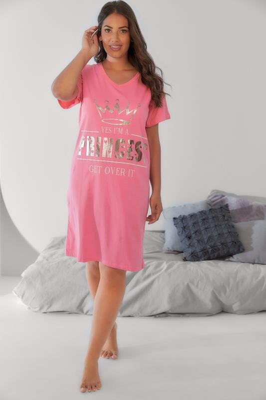 "Nightdresses & Chemises Pink Foil Print ""Princess"" Nightdress 148037"