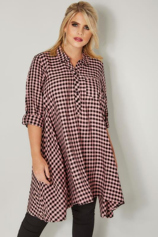 Plus Size Shirts Pink Gingham Longline Shirt With Hanky Hem