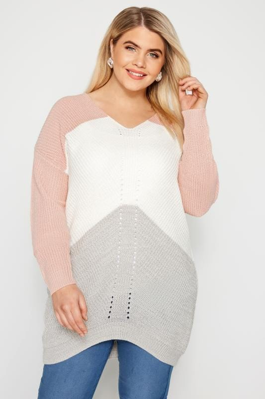 Plus Size Sweaters Pink & Grey Colour Block Pointelle Jumper
