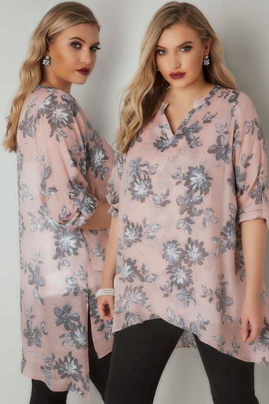 Plus Size Blouses & Shirts Pink & Grey Floral Print Layered Blouse With Notch Neck & Dipped Hem