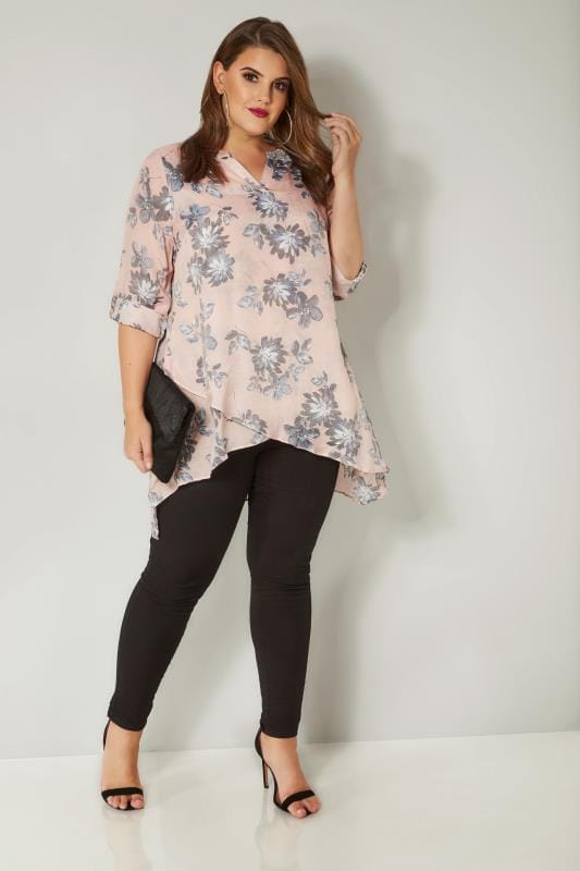 Pink & Grey Floral Print Layered Blouse With Notch Neck