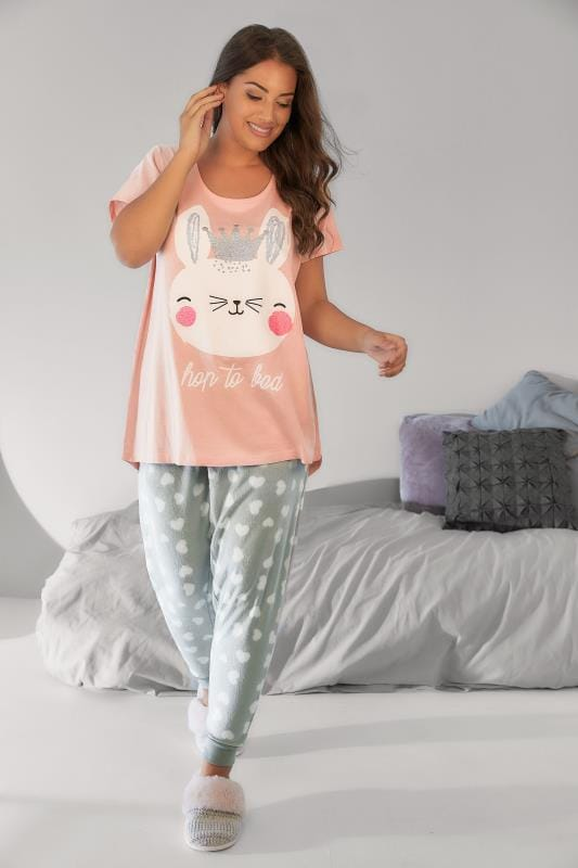 Pink & Grey 'Hop To Bed' Bunny Print Pyjama Set with Fleece PJ Pants