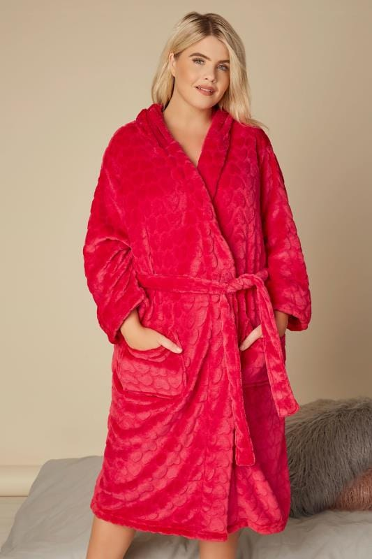 Plus Size Nightgowns Pink Heart Fleece Dressing Gown
