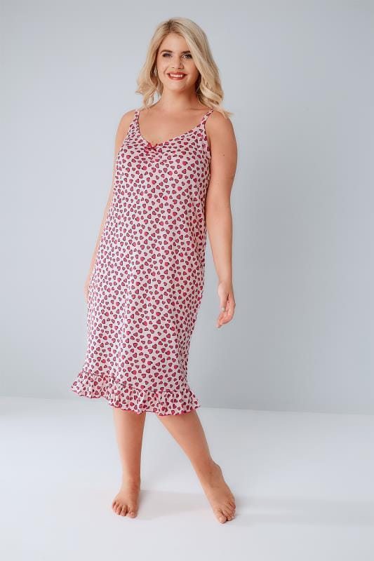Pink Heart Print Chemise With Ruffle Hem