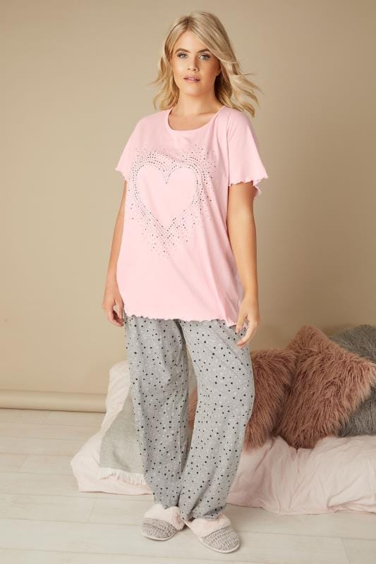 Pink Heart Studded Pyjama Top With Frill Edge