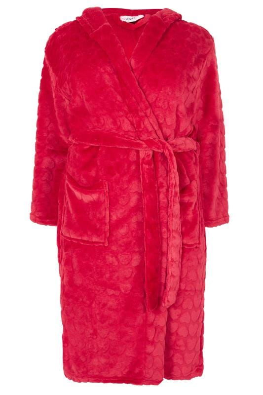 Plus Size Dressing Gowns Pink Heart Fleece Dressing Gown