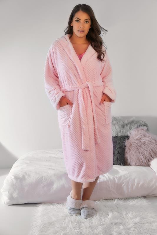 Pink Hooded Textured Fleece Dressing Gown With Pockets