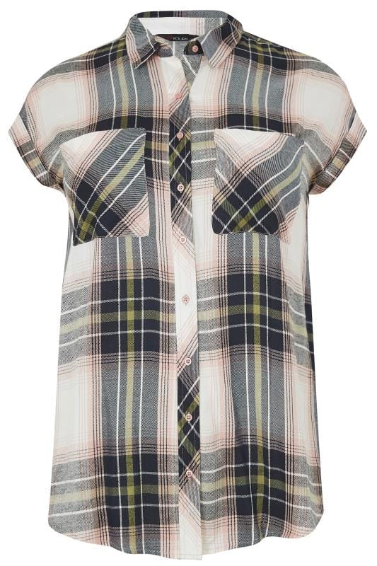 Plus Size Blouses & Shirts Pink & Khaki Checked Shirt With Grown-On Sleeves