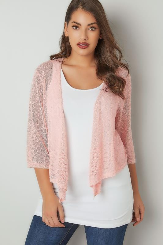 Plus Size Shrugs Pink Popcorn Crochet Cropped Shrug
