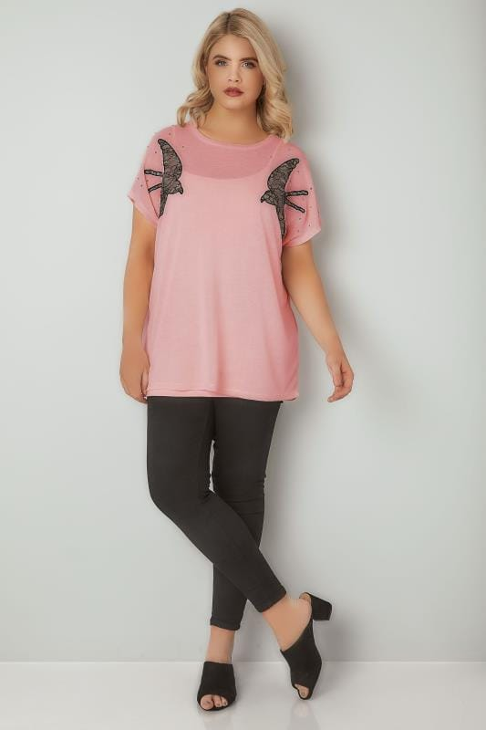 Pink Knitted Swallow Embroidered Top With Studded Details