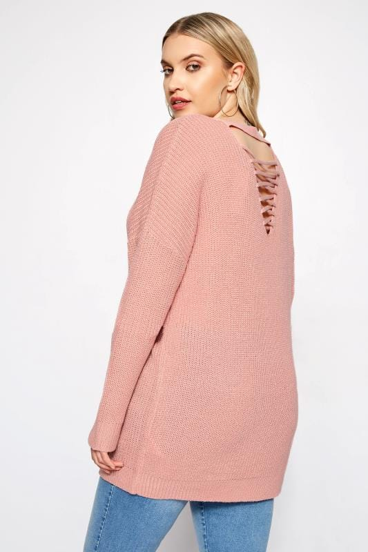 Plus Size Sweaters Pink Lattice Back Knitted Jumper