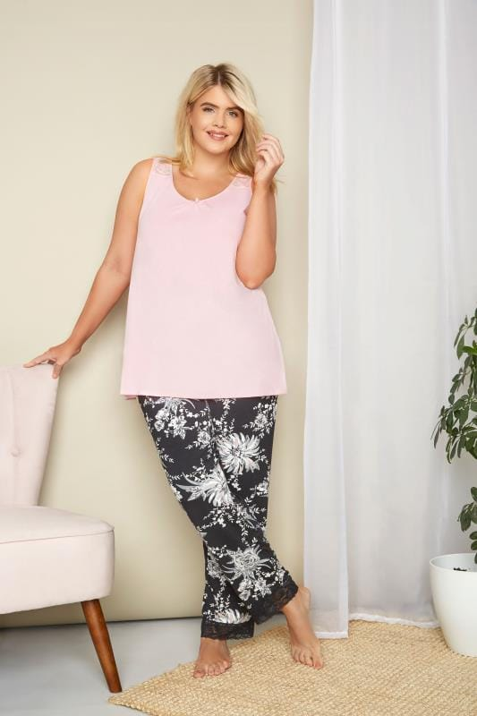 Pink Lace Loungewear Vest Top