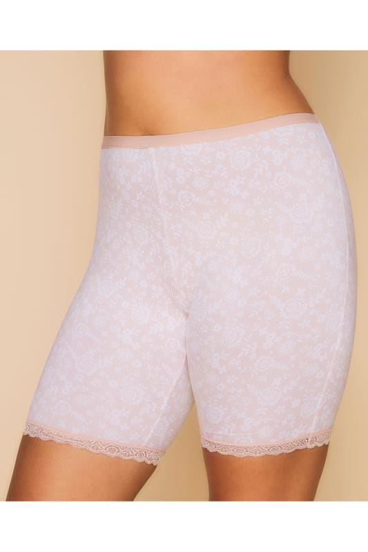 Plus Size Thigh Smoothers Pink Lace Print Thigh Smoother