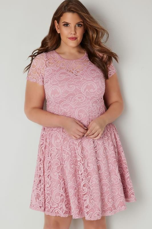 Pink Lace Skater Dress With Sweetheart Bust Plus Size 16 To 36