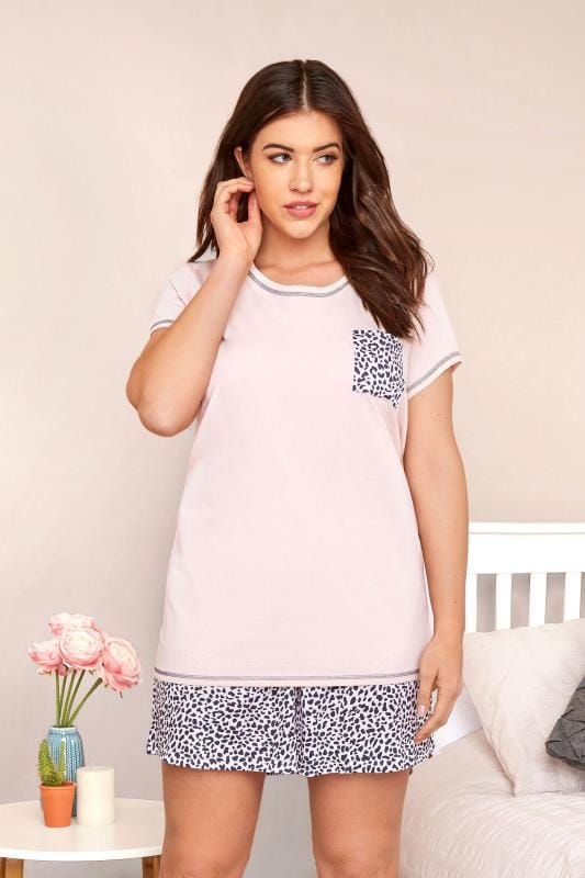 Plus Size Pyjamas Pink Leopard Print PJ Short Set